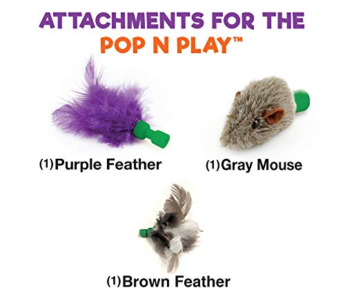 Allstar Innovations Use with The Pop N Play; 3 Replacement Cat Toy Attachments; Includes One Mouse, One Fish and One Feather. Pets Know Best