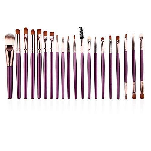 VCB 20 pcs de Maquillage Professionnel Blush cosmétique Violet Pinceau avec Cheveux café - Violet (Tube de café)