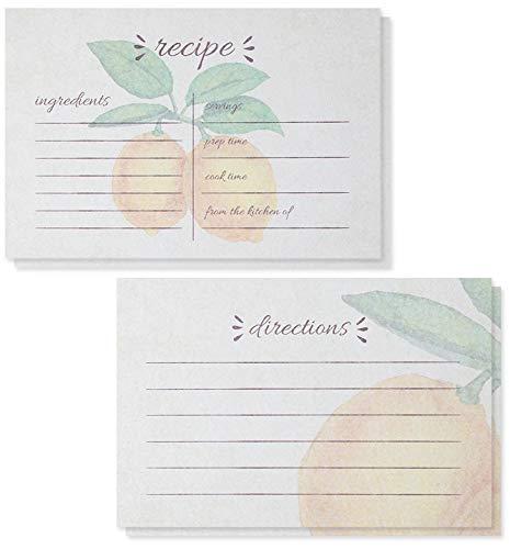 Juvale Blanko-Rezeptkarten mit Zitronen-Design, doppelseitig, 10,2 x 15,2 cm, 60 Blatt