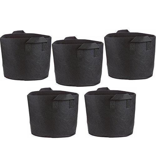 T4U 5-Gallon Sacs de Culture Étoffe Tissée Sacs de Plantation Pots d'aération Conteneurs à Faces Douces avec des Poignées Robustes Noir 1 Paquet de 5