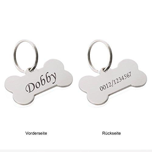 Siebenmorgen Knochen Personalisiert Haustier ID Tag Hund Tag mit Gravur Service Hundemarke Anhaenger aus Edelstahl,Silber