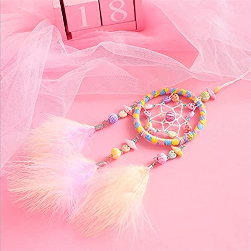 TYUTYU Estilo Brillante Pink Dreamcatcher Accesorio Accesorio Coche Miojo Colgante Colgante para Chicas Sala Decoración Viento Chimes De Viento Regalos (Color