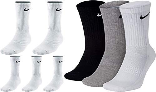 Nike 8 Paar Herren Damen Socken Lang Weiß oder Schwarz oder Weiß Grau Schwarz Set Paket Bundle, Größe:42-46, Farbe:weiß weiß/grau/schwarz