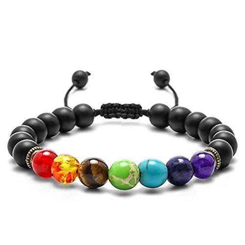 Stein Armband,Naturstein Armreif 7 Chakra Black Onyx Geflochtenes Seil Yoga Energie Charme Armbänder Schmuck Für Anxity Männer Mädchen