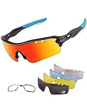 BangLong Sportbril Set 5 Verwisselbare Glazen,UV400-bescherming Gepolariseerde Zonnebril- Voor Heren En Dames Outdoor Fietsbril
