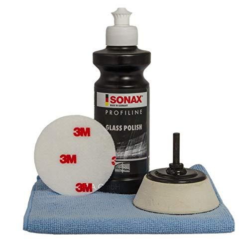 Blaucraft Glaspolierset Glaspoliturset SONAX Profiline Glaspolitur 3M Polierpad Polierteller 75mm