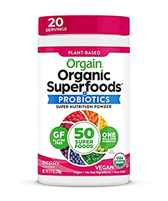 Orgain Organic Superfoods Powder, Berry, Vegan, Gluten Free, Non-GMO, 0.62 Pound, 1 Count, Packaging May Vary