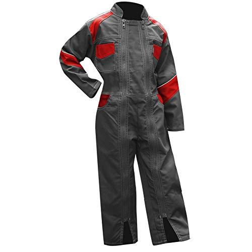 LMA–Mono de trabajo para niño, 2Cremalleras, girasol–bicolor gris rojo