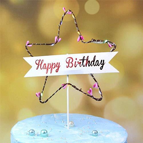 Western Festivity Alles Gute zum Geburtstag Kuchen-Deckel LED-Kuchen-Dekoration Partei-Einzelteil Stern 1 Pc