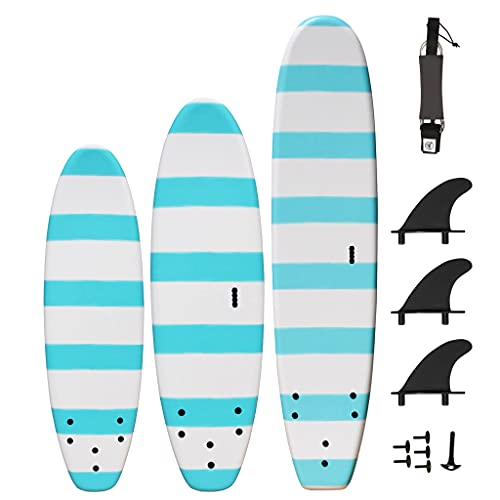 South Bay Board Co. - 5' / 6' / 8' Beginner Surfboards - Safe Soft-Top Surfboards - Best Beginner Surfboards for Kids & Adults – Strong Triple Stringer Durability - Leash & Safe-Edge Fins Included