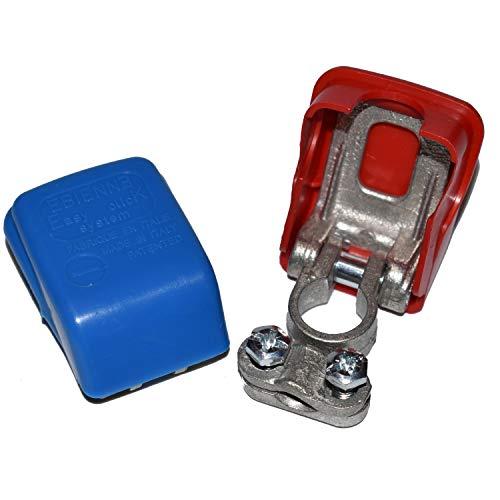 Easy Click® Polklemmen für Autobatterie, Fahrzeugbatterie, Batterie Polklemmen, Schnellklemmen, Polklemme mit Schnellverschluss – Batterieklemmen mit Schnellverbinder bis 50 mm² in rot und blau