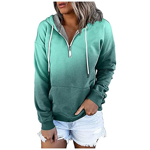 Hoodies for Women Pullover, Womens Casual Pocket Gradient Print Clothes Long Sleeve Sweatshirts Ladies Fall Tops Green