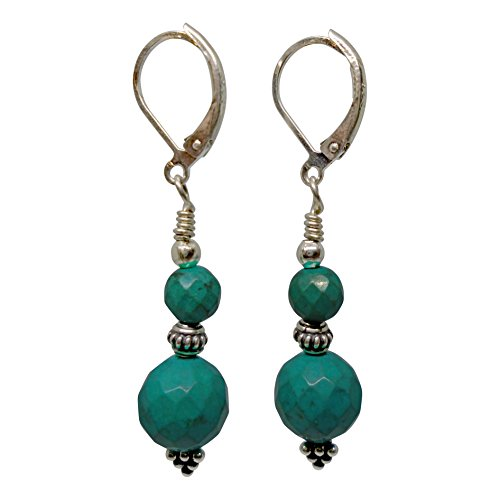 Ruby Mode Green Turquoise Balls and Bali Sterling Silver Grape Pyramid Earrings