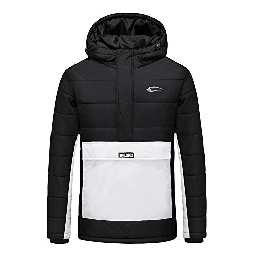 SMILODOX Herren Winterjacke Frozen | Jacket for Sports, Fitness & Free time | Sports Jacket, Farbe:Schwarz/Weiß, Größe:XL