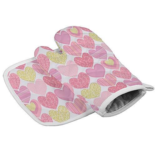 JamirtyRoy1 Juego de guantes de aislamiento para horno, diseño de corazones, tela de clavel, manoplas y soporte para ollas, guantes de aislamiento, resistentes al calor