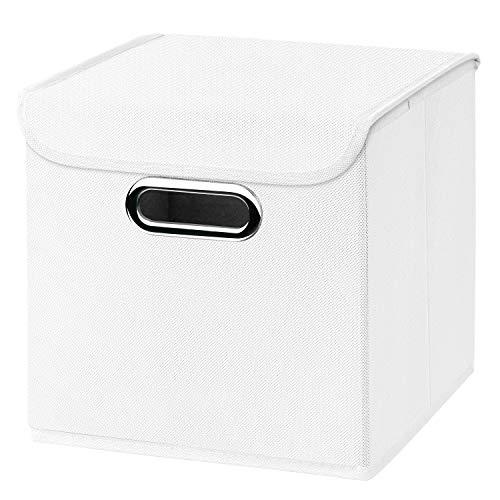 Stick&Shine 1x Aufbewahrungs Korb weiß Faltbox 25 x 25 x 25 cm Regalkorb faltbar, mit Deckel