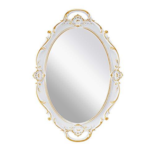 OMIRO Espejo de pared decorativo vintage tallado para dormitorio, salón, cómoda, ovalado, blanco envejecido, 25 cm de ancho x 38 cm de largo