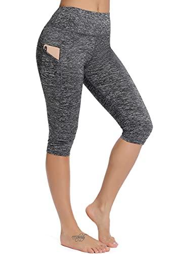 CROSS1946 Leggings Sportivi da Donna 3/4 Tights Pantalone Sportivo Capri Pantaloni Yoga Elastici Collant, B-Grigio Chiaro S