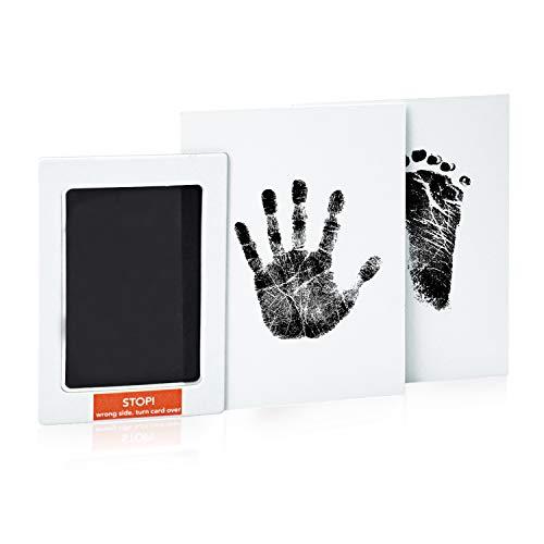 NATEE 2 Papiers Empreinte de Main et Empreinte de Pied, Bébé Sécuritaire Touche Encre, Baby Pad sans Encre, Superbe Cadeau pour la Fête de Naissance (Noir)
