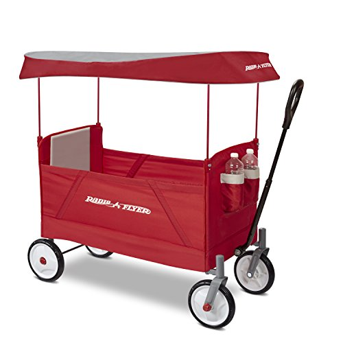 Radio Flyer 3957A EZ Wagon with Canopy, Folding Trolley for Kids, Garden and Cargo cart, Ages 1.5+, Red