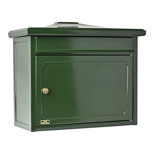 Burg-Wächter Briefkasten mit Komfort-Tiefe, A4 Einwurf-Format, Verzinkter Stahl, EU Norm EN 13724, Kopenhagen 882 GR, Grün