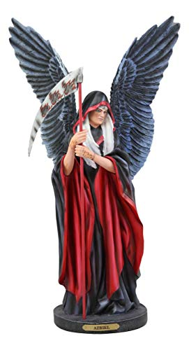 """Ebros Large Ruth Thompson Archangel Azriel Angel of Death and Change Holding Reaper Scythe Statue 17.25"""" Tall Decorative Angels Archangels Azrael Figurine with Brass Name Plate Wooden Base"""