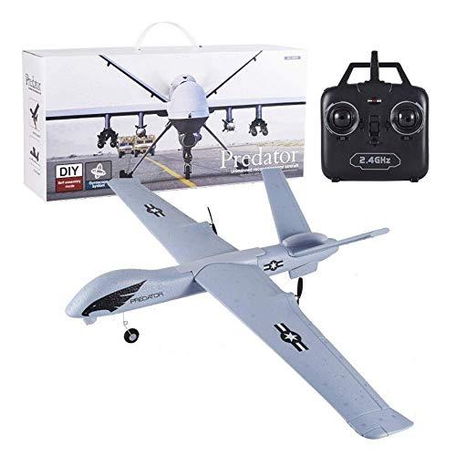 FZC-YM Global Hawk Predator Drone Modelo 2.4GHz 6CH Avión de Control Remoto Recargable Eléctrico DIY Planeador Juguete Anti-caída Material EPP ala Fija Avión RC niños y Adultos (Tamaño: