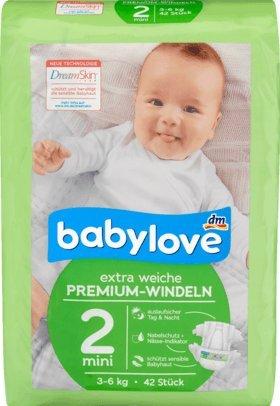 Babylove pannolini Premium Extra Morbido, misura 2, Mini 3–6kg, 42ST