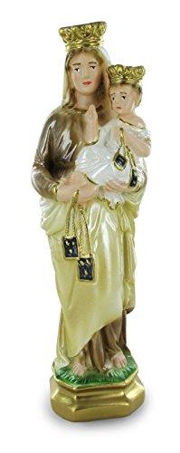 Ferrari & Arrighetti Estatua Virgen del Carmen en Yeso Perlado Pintada a Mano - 30 cm