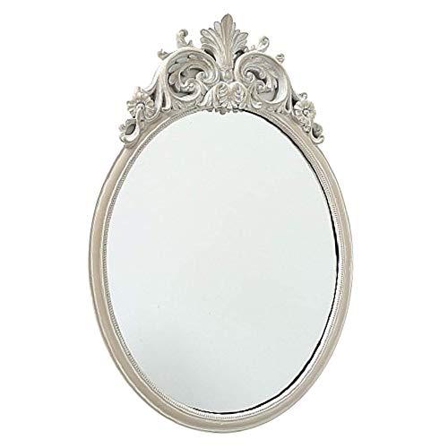 CasaJame Hogar Muebles Accesorios Decoración Espejo Ovalado para Colgar en la Pared con Acabado en Hoja Blanca Crema 44x30x2cm