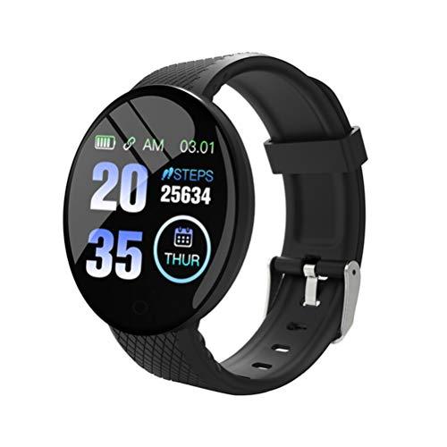 HJKPM D18 Smartwatch, IP67 Monitoreo De Salud A Prueba De Agua Reloj Inteligente con Ritmo Cardíaco Deportivo Monitoreo del Sueño Y Bluetooth Tome Las Imágenes Función,Negro