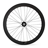 9. JIMAITEAM Carbon Fixed Gear Rear Wheel 700c Rim Single Speed Bike/Fixie Bicycle Back Wheel Clincher Type 50mm Depth 23mm Width Track Bike Wheel (Rear Wheel)