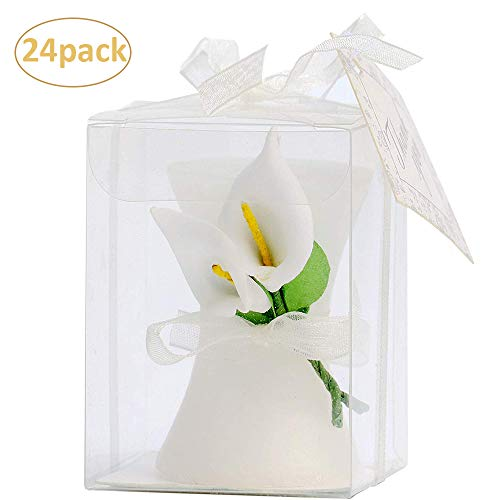 AiXiAng 24 Pcs Lily Style Candle Favors Gift Boxed with Thanks Cards for Wedding Shower Gifts or Baby Shower Favors Decorations
