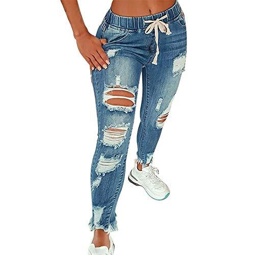 KUNMI Women High Waist Skinny Stretch Ripped Jeans Destroyed Denim Pants Plus Size Blue