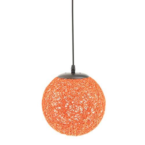 Lámpara de Techo Forma de Bola de Tela Tejida de Mimbre Luz Colgante Interior 20CM Decoración de Cafetería de Restaurante de Hogar - Naranja