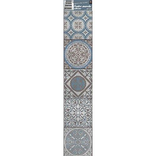 Plage Vinilos para Escaleras-Azulejos Antiguos Thiva, Azul, 19x3x100 cm, 3 Unidades