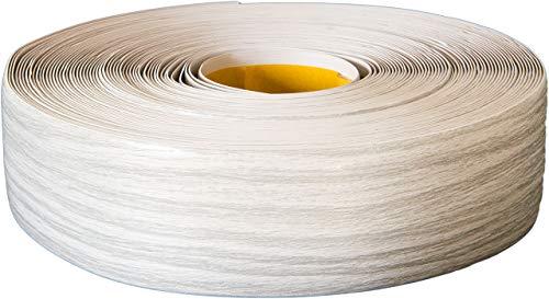 Weichsockelleiste selbstklebend, 25m Rolle, Sockelleiste für Laminat, Parkett und Vinyl, Winkelleiste aus Kunststoff, Abschlussleiste für Boden und Wand (esche-grau)