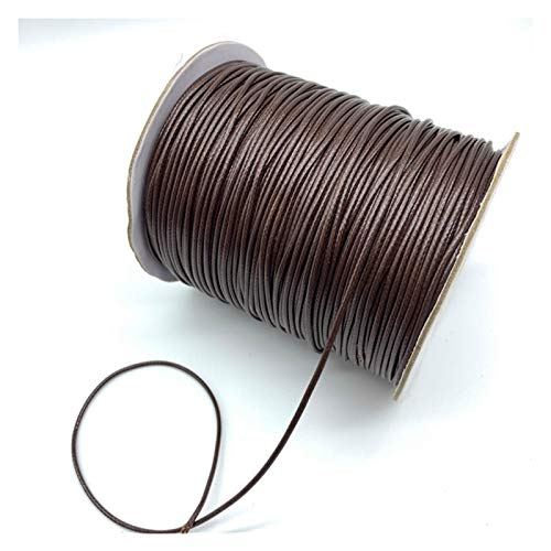 XIAOXINGXING 0.5mm 0.8mm 1mm 1.5mm 2mm Brown Waxed Cotton Cord Waxed Thread Cord String Strap Necklace Rope For Jewelry Making (Color : 1, Size : 2mm 5yards)
