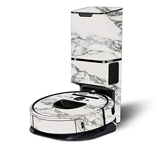 MightySkins Skin Compatible with iRobot Roomba i7+ Robot Vacuum - White Marble | Protective, Durable, and Unique Vinyl Decal wrap Cover | Easy to Apply, Remove, and Change Styles | Made in The USA Dining Features Kitchen Robotic Vacuums