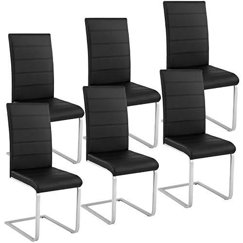 TecTake 6 Esszimmerstühle Schwingstuhl Set, Kunstleder - Diverse Farben - (Schwarz)