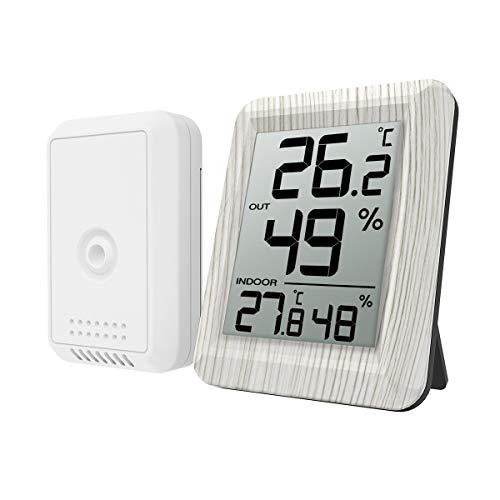 Criacr Wireless Termometro Igrometro da Interno Esterno, Termometro Igrometro Digitale con Sensore Esternal, Igrometro Professionale per Casa, Bagno, Soggiorno, Magazzino