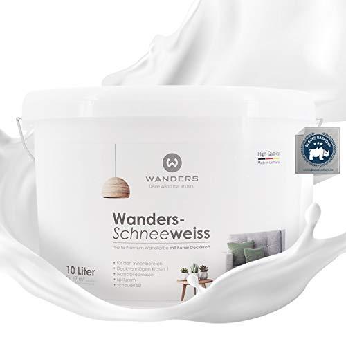 Wanders24® Wander-Schneeweiss (10 Liter, Weiß) Wandfarbe weiß hohe Deckkraft - Wandfarbe weiss - DIN13300 - Deckv. 1 - Nassab. 1 - Made in Germany