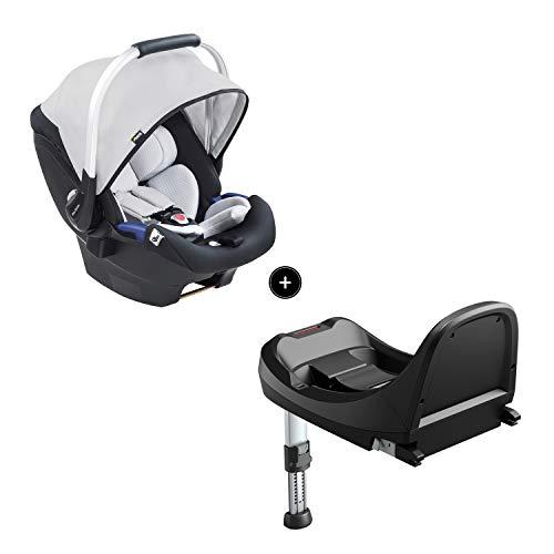 Hauck iPro Baby Set i-Size Babyschale mit Isofix Basis ab Geburt bis 13 kg, Gruppe 0 Baby Autositz mit zwei-teiliger Neugeborenen-Einlage, mitwachsend, leicht, schwarz grau