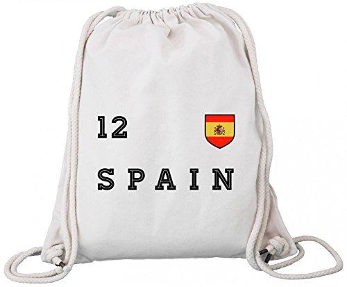 ShirtStreet Espana Spain Fußball WM Fanfest Gruppen Premium Bio Baumwoll Turnbeutel Rucksack Stanley Stella Trikot Spanien, Größe: onesize,Natural