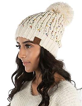 Women s Confetti Knit Beanie Pom Hat Chenille Winter Slouchy Chunky - Oatmeal