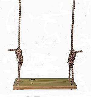 Carolina Custom Swings, LLC Premium Southern Pine 24 Inch Wooden Tree Swing w/ 12 ft of Rope Kid Adult Outdoor Porch