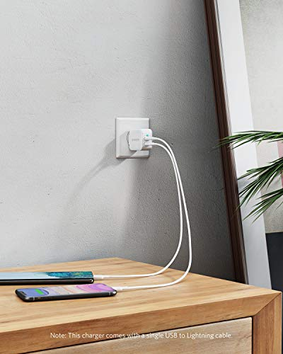 iPhone Charger, Anker PowerPort III 2-Port 12W USB Wall Charger with 3ft MFi Certified Lightning Cable, Foldable Plug, for iPhone Xs/XR/ 11/11 Pro/SE 2020/ iPad, and More