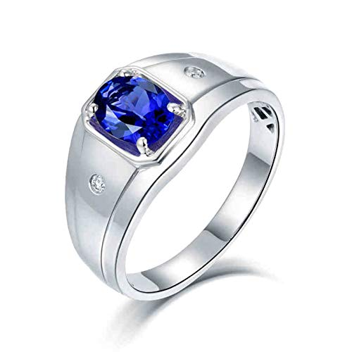 AnazoZ Anillo de Tanzanita Hombre,Anillos Hombre Compromiso Oro Blanco 18 Kilates Plata Azul Oval Tanzanita Azul 1.1ct Diamante 0.04ct Talla 20
