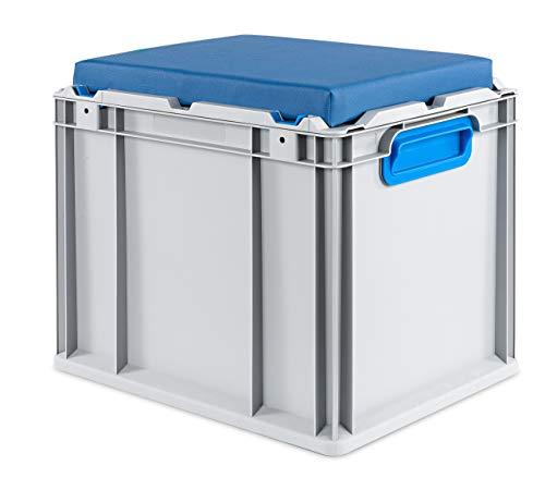 aidB Eurobox NextGen Seat Box, blau, (400x300x365 mm), Griffe geschlossen, Sitzbox mit Stauraum und abnehmbarem Kissen, 1St.