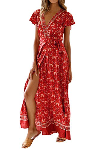 Eledobby Vestido de Flores Cruzado Mujer Bohemio Cuello en V Profundo Manga Corta Vestido Largo con Cinturón Elegante A Línea Ropa Casual para Fiesta Playa Vino Tinto Burdeos Rojo S